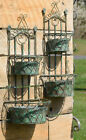 2 Durable Sets Iron Distressed Antique-Look Dual Hanging Wall Planter Baskets