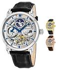 Stuhrling 371 Men's Skeleton Automatic Self Wind Dual Time Dress Watch  image