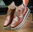 Carved Mens Wing Tip Creepers Platform Oxfords Shoes Lace Up British Brogue Hot