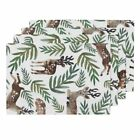 Cloth Placemats Green Deer Reindeer Rustic Country Christmas Holiday Set of 4