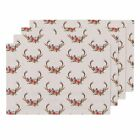 Cloth Placemats Antlers Woodland Deer Floral Flowers Baby Girl Pink Set of 4