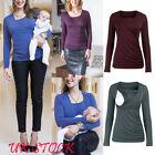 UK Women's Nursing Top Long Sleeves Solid Maternity Breastfeeding T-shirt Blouse