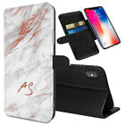 Personalised INITIALS Marble Printed Stand Wallet Case for Apple iPhones - 0073