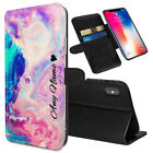 Personalised NAME Marble Printed Stand Wallet Case for Apple iPhones - 0088
