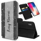Personalised NAME Marble Printed Stand Wallet Case for Apple iPhones - 0049