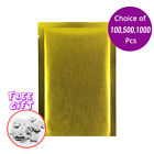 2.25x3.5in Matte Gold Thick Rice Paper Mylar Open Top Pouch Bag w/ Desiccant
