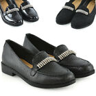 Womens Black Loafers Shoes Ladies Slip On Diamante Office Work School Pumps