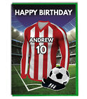 Personalised Football Shirt Birthday Card - Any NAME & NUMBER Stoke Colours