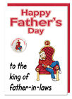 Funny Humour Joke Fathers Day Father In Law Card & Badge King of father In Laws