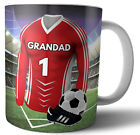 Grandad Birthday or Fathers Day Gift Football Mug - Red & White Team Colours