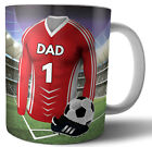 Dad Birthday or Fathers Day Gift Football Mug - Red & White Team Colours