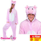 Mens Pink Pig Costume Adults Jumpsuit Animal Zoo Party Funny Hogs Fancy Dress