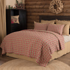 JONATHAN PLAID QUILT SET-choose size & accessories- Rustic Red/Green VHC Brands image