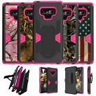 For Samsung Galaxy Note 9 SM-N960 Pink Silicone Holster and Kickstand Cover