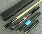 """Grand-Cues"" 58"" 3/4 Jointed Ash Shaft Black Ebony Handmade Snooker Cue Set@YP15"