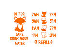 Fox Drink your water decal, water tracker, hydration, water