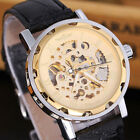 Mens Automatic Mechanical Steampunk Skeleton Stainless Steel Leather Strap Watch image