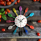 NEW Wall Clock Spoon Fork Kitchen Utensil Modern Design Home Decor Metal Style