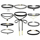 10PCs Leather Choker Charm Necklace Vintage Chocker Punk Retro Black Collar UK