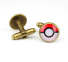 Men's Shirt Glass Pokemom Pokeball Bronze Brass Copper Cufflinks Cuff Links
