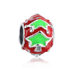 Christmas 925 Silver Painted Charm Beads Fit sterling Bracelet Necklace #L313