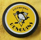 VINTAGE PITTSBURGH PENGUIN NHL USED HOCKEY PUCK CANADA OLD GENERAL TIRE SLUG