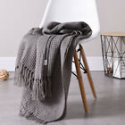 "Soft Knitted Warm Throw Blanket Bed Sofa Couch Decorative Waffle Pattern 51""x67"" image"