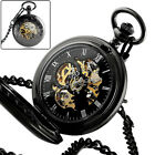 Quality Mechanical Pocket Watch lack Vintage Chain Mens Wind Up Removable Chain