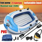Inflatable Fishing Boat Raft PVC Canoe Dinghy Tender Kayak Sports + Oars & Pump
