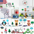 Kids Bedroom Wall Decor Wall Clock Gift Creative Cartoon Mute Diy Stickers Clock