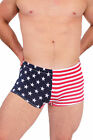 MEN'S RED WHITE BLUE SWIM BRIEFS AMERICAN FLAG TRUNKS HOT U.S.A. BIKINI SWIMWEAR