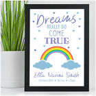 Personalised Rainbow Baby Nursery Wall Art Print Gift for Baby Girl Baby Boy