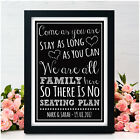 No Seating Plan PERSONALISED Wedding Sign - We are all Family Here Vintage Signs