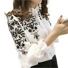 Female Women Long Sleeve Embroidery Blouse Shirt Korean Flower Tops Fresh Shirt