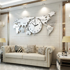 Luxury Clock World Map Wall Modern Design Large Stainless Acrylic Home Decor