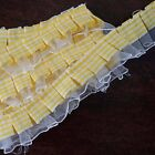 25 YARD Ruffle Lace Trim/Gingham Polyester ForDress Craft Sewing Trimming- WHITE