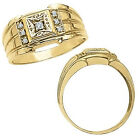 0.15 Carat White Diamond Designer Cluster Mens Engagement Ring 14K Yellow Gold