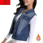 Women Denim Vest Button Trim Retro Washed Sleeveless Cardigan Denim jacket