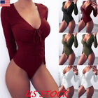 Ladies Deep V Plunge Neck Womens Stretch Long Sleeve Sexy Leotard Bodysuit Tops
