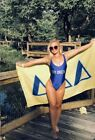 Private Party Women`s Swimwear Blue and Silver Tri Delta One Piece Swimsuit NWT