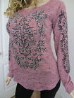 Vocal Raylan Long Sleeves Pearls Stones Scroll Sweater Pink Top Shirt M