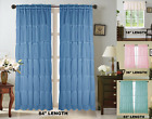 1 SET SHUBBY SOLID SOFT VOILE SHEER FABRIC WINDOW CURTAIN RUFFLE PANEL GYPSY