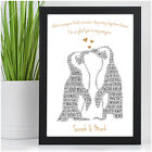 Penguin Couple Personalised Anniversary Gifts for Her Girlfriend Boyfriend Wife