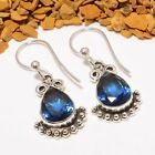 DELIGHTING MADGASCAR BLUE SAPPHIRE GEMSTONE JEWELRY EARRING 1.58""
