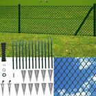 Chain Link Fence Set Outdoor Garden Fencing Panel Roll with Posts Spike Anchors