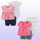 New Carters Baby Girls 3 Pc Bodysuit Top & Bubble Shorts Set Outfit 18 Months