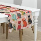 Table Runner Cat Kitten Mitten Knitting Cats Kittens Cotton Sateen