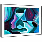 E175 Blue Pink Teal Abstract Face Modern Framed Wall Art Large Picture Prints