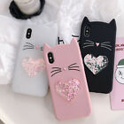 3D Love Heart Glitter Cat Cartoon Cat Phone Cover Case For iPhone X 6 6s 7 Plus