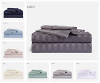 BAMBOO 1800 DEEP POCKET STRIPED BED SHEET SETS HYPOALLERGENIC & SOFT ALL SIZES image